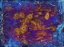 Παλαιός καραϊβικός χάρτης θάλασσας με τα σκάφη και τις πυξίδες πειρατών στο μπλε υπόβαθρο σύστασης απεικόνιση αποθεμάτων