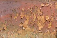 Παλαιός κουρελιασμένος τοίχος μετάλλων που καλύπτεται στη σκουριά και το βρύο στοκ φωτογραφία με δικαίωμα ελεύθερης χρήσης