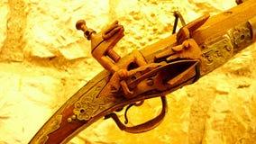 Παλαιός μηχανισμός πυροβόλων όπλων μουσκέτων Στοκ φωτογραφίες με δικαίωμα ελεύθερης χρήσης