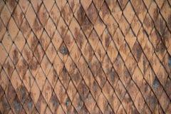 Παλαιός ξεπερασμένος ξύλινος τοίχος με τη διακόσμηση που χρωματίζεται καφετής και μπλε Στοκ φωτογραφίες με δικαίωμα ελεύθερης χρήσης