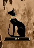 Παλαιός πάπυρος με τη μαύρη αιγυπτιακή γάτα Bastet, αρχαία θεά της Αιγύπτου, σχεδιάγραμμα αγαλμάτων με το φαραονικό χρυσό κόσμημα ελεύθερη απεικόνιση δικαιώματος