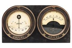 Παλαιός πρώιμος μετρητής αμπέρ του 20ού αιώνα διπλός στοκ φωτογραφία με δικαίωμα ελεύθερης χρήσης