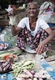 παλαιός πωλεί τη γυναίκα λαχανικών Στοκ Φωτογραφίες