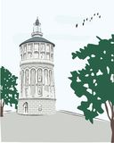 Παλαιός πύργος πυρκαγιάς ύδατος στο Βουκουρέστι διανυσματική απεικόνιση