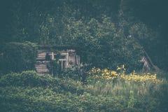 Παλαιός σάπιος χαλασμένος από το ξύλινο εξοχικό σπίτι πυρκαγιάς στοκ εικόνες
