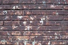 παλαιός τοίχος τούβλου στενό πλάνο τούβλου ανασκόπησης επάνω Χρωματισμένος Grunge τουβλότοιχος Στοκ Εικόνα