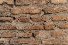 Παλαιός τουβλότοιχος με τις ρωγμές και τις γρατσουνιές τοίχος εικόνας τούβλου ανασκόπησης rastre Στοκ φωτογραφία με δικαίωμα ελεύθερης χρήσης
