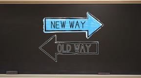 Παλαιός τρόπος ή νέος τρόπος σε έναν πίνακα ελεύθερη απεικόνιση δικαιώματος