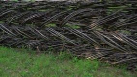 Παλαιός υφαμένος ξύλινος φράκτης σε έναν αγροτικό τομέα απόθεμα βίντεο