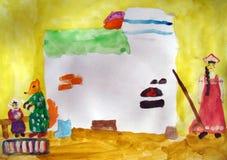 Παλαιός φούρνος - ζωγραφική watercolor που γίνεται από το παιδί ελεύθερη απεικόνιση δικαιώματος