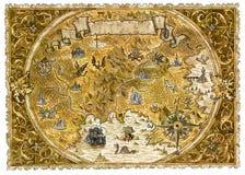 Παλαιός χάρτης πειρατών του κόσμου φαντασίας με τους δράκους ελεύθερη απεικόνιση δικαιώματος