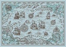 Παλαιός χάρτης της καραϊβικής θάλασσας με τα σκάφη πειρατών, νησιά θησαυρών, πλάσματα φαντασίας απεικόνιση αποθεμάτων