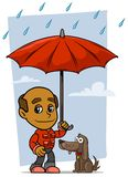 Παλαιός χαρακτήρας ατόμων κινούμενων σχεδίων με την ομπρέλα και το σκυλί απεικόνιση αποθεμάτων