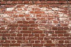 Παλαιός shabby κόκκινος τοίχος τούβλου με τον άσπρο στόκο, λεπτομερής σύσταση ανασκόπηση βρώμικη Στοκ Εικόνες