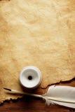 παλαιό έγγραφο φτερών inkwell Στοκ εικόνες με δικαίωμα ελεύθερης χρήσης