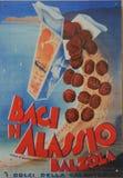 Παλαιό έμβλημα γλυκού Baci Alassio στοκ εικόνα