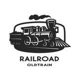 Παλαιό έμβλημα τραίνων ατμού, λογότυπο διανυσματική απεικόνιση