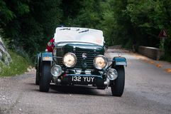Παλαιό αγωνιστικό αυτοκίνητο ΚΗΦΉΝΩΝ 1947 HEALEY DUNCAN στη συνάθροιση Mille Miglia 2015 η διάσημη ιταλική ιστορική φυλή 1927-195 Στοκ Εικόνες