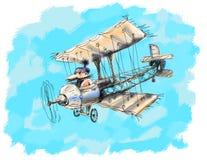 Παλαιό αεροπλάνο κατά την πτήση Στοκ Εικόνες