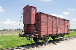 Παλαιό βαγόνι εμπορευμάτων τραίνων μεταφορών, στρατόπεδο συγκέντρωσης auschwitz-Birkenau Στοκ Εικόνες