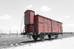 Παλαιό βαγόνι εμπορευμάτων τραίνων μεταφορών, στρατόπεδο συγκέντρωσης auschwitz-Birkenau Στοκ εικόνα με δικαίωμα ελεύθερης χρήσης