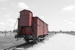 Παλαιό βαγόνι εμπορευμάτων τραίνων μεταφορών, στρατόπεδο συγκέντρωσης auschwitz-Birkenau Στοκ Φωτογραφίες