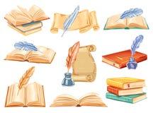 Παλαιό βιβλίο, κύλινδρος εγγράφου και watercolor μανδρών φτερών διανυσματική απεικόνιση