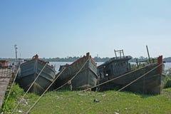 Παλαιό βιρμανός να σαπίσει βαρκών στοκ εικόνες