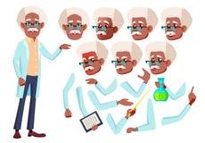 παλαιό διάνυσμα ατόμων Ανώτερο πρόσωπο μαύρα Afro Αμερικανός Ηλικίας, ηλικιωμένοι άνθρωποι Επιστήμονας, γιατρός Συγκινήσεις προσώ Απεικόνιση αποθεμάτων