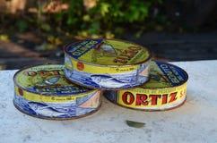 Παλαιό δοχείο κασσίτερου με τα κονσερβοποιημένα ψάρια conservas de pescados ortiz Στοκ φωτογραφία με δικαίωμα ελεύθερης χρήσης