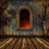 Παλαιό δωμάτιο, grunge εσωτερικό με τα Windows Στοκ φωτογραφία με δικαίωμα ελεύθερης χρήσης