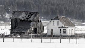 Παλαιό εγκαταλειμμένο καιρικό αγροτικό σπίτι wither με ένα δάσος και ένα χιόνι Στοκ Φωτογραφία