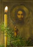 Παλαιό εικονίδιο κλάδων κεριών κωνοφόρο στοκ εικόνες