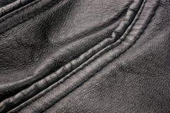 Παλαιό εκλεκτής ποιότητας γνήσιο μαλακό μαύρο υπόβαθρο σύστασης δέρματος, τοπ στρώμα με τους πόρους και τις γρατσουνιές, μακροεντ στοκ εικόνες με δικαίωμα ελεύθερης χρήσης