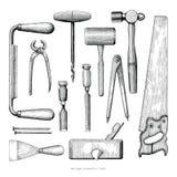 Παλαιό εκλεκτής ποιότητας ύφος σχεδίων χεριών εργαλείων ξυλουργών στην άσπρη πλάτη ελεύθερη απεικόνιση δικαιώματος