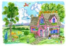 Παλαιό εξοχικό σπίτι με τον όμορφους κήπο, τα λουλούδια και την καρέκλα Στοκ φωτογραφία με δικαίωμα ελεύθερης χρήσης