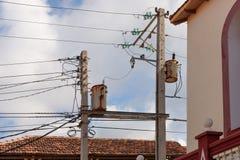 Παλαιό ηλεκτρικό περιβάλλον στο baracoa, Κούβα στοκ φωτογραφία με δικαίωμα ελεύθερης χρήσης