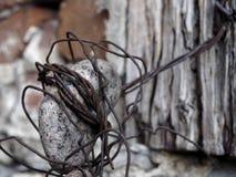 Παλαιό καλώδιο που συνδέεται με την πέτρα και τον ξύλινο τυλίγοντας βράχο τοίχων στοκ φωτογραφία