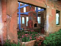 Παλαιό κτήριο στο νησί SAN Fransisco Καλιφόρνια Alcatraz στοκ φωτογραφία