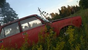 παλαιό κόκκινο αυτοκινήτων στοκ εικόνες