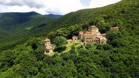 Παλαιό μοναστήρι Nekresi στα πράσινα δέντρα, εναέρια άποψη επίσκεψης Γεωργία, θρησκεία στοκ εικόνα με δικαίωμα ελεύθερης χρήσης