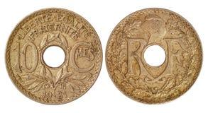 παλαιό νόμισμα Γαλλία Στοκ Εικόνα