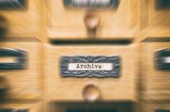 Παλαιό ξύλινο συρτάρι καταλόγων αρχείων αρχείων Στοκ φωτογραφία με δικαίωμα ελεύθερης χρήσης