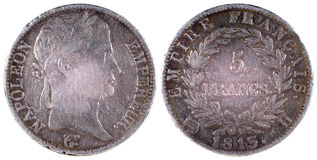 Παλαιό παλαιό νόμισμα της Γαλλίας 1813 έτος Στοκ Φωτογραφία