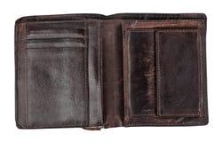 Παλαιό πορτοφόλι δέρματος που απομονώνεται σε ένα άσπρο υπόβαθρο με το ψαλίδισμα της πορείας Τοπ όψη Στοκ εικόνα με δικαίωμα ελεύθερης χρήσης
