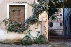 Παλαιό πράσινο ποδήλατο από τους δρόμους του Brescia στοκ εικόνες με δικαίωμα ελεύθερης χρήσης