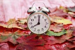 Παλαιό ρολόι που στέκεται σε έναν κόκκινο ξύλινο πίνακα μεταξύ του πεσμένου φθινοπώρου Στοκ Εικόνα