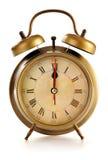 Παλαιό ρολόι συναγερμών στο λευκό Στοκ Εικόνες