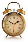 Παλαιό ρολόι συναγερμών στο λευκό Στοκ Εικόνα
