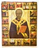 Παλαιό ρωσικό ορθόδοξο εικονίδιο του Άγιου Βασίλη με τις σκηνές δικοί του Στοκ Εικόνες